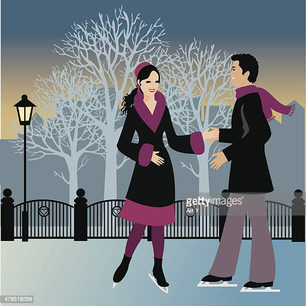 couple ice skating at night - flirting stock illustrations, clip art, cartoons, & icons