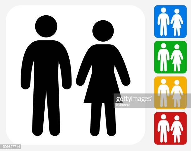 couple icon flat graphic design - females stock illustrations, clip art, cartoons, & icons