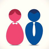 Couple icon of blue man and pink woman