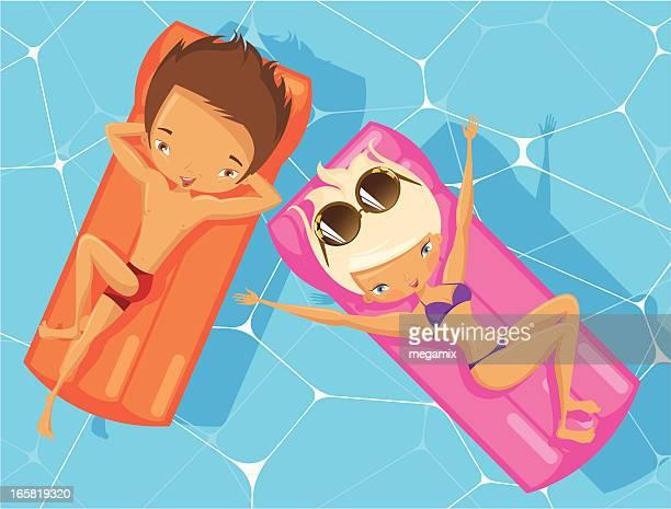 illustrations, cliparts, dessins animés et icônes de couple dans une piscine. - matelas pneumatique