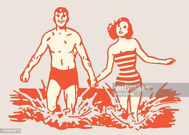 couple in bathing suits running in ocean surf - flirting stock illustrations, clip art, cartoons, & icons