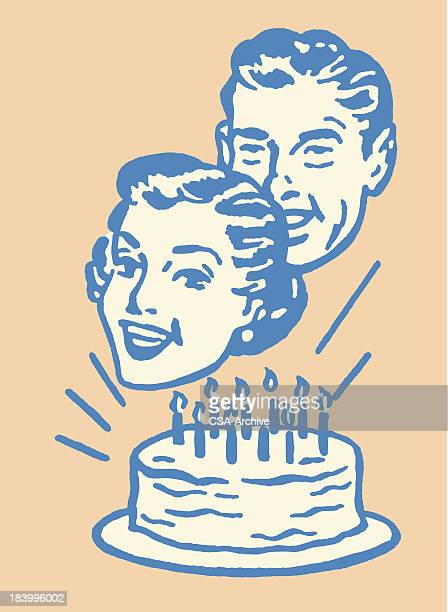 couple in front of birthday cake - birthday cake stock illustrations, clip art, cartoons, & icons