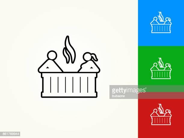 Couple in hot tub Black Stroke Linear Icon