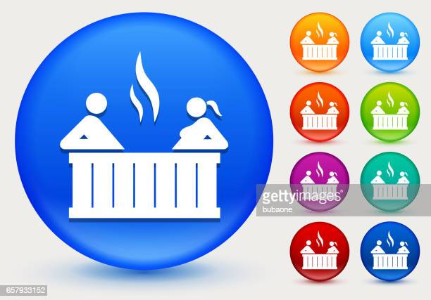 Couple in hot tub Icon on Shiny Color Circle Buttons