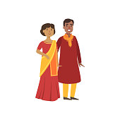 Couple In Indian National Clothes