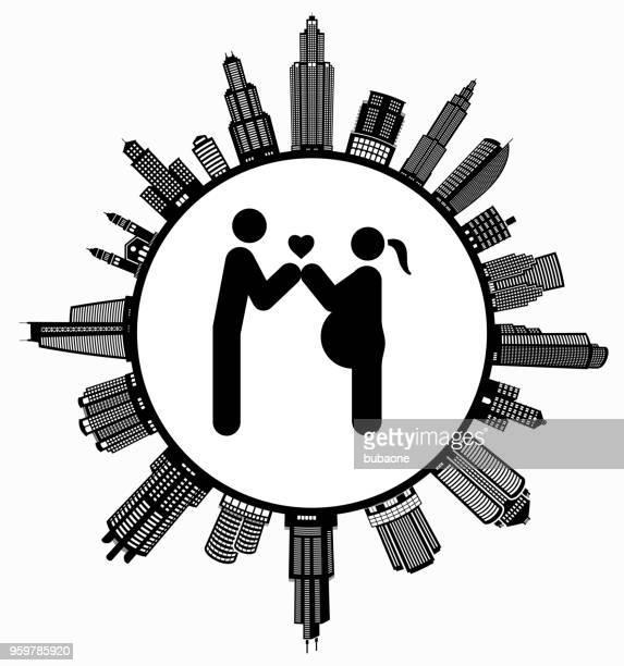paar in der liebe, die ein kind erwartet, auf modernen stadtbild skyline hintergrund - stockwerk stock-grafiken, -clipart, -cartoons und -symbole