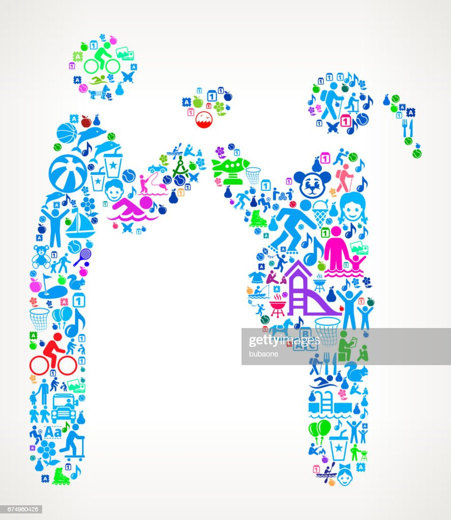 Couple In Love Expecting a Child Vacation and Summer Fun Icons Background