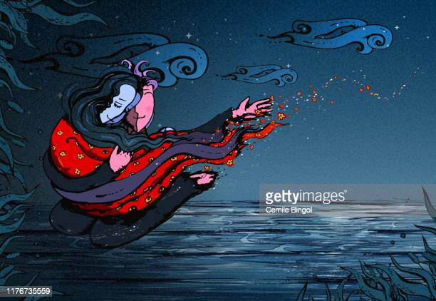 couple in love flying in the sky - surrealism stock illustrations