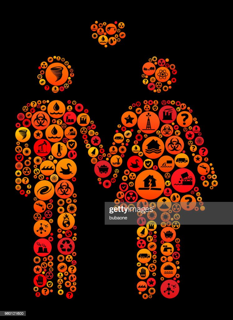 Paar In Liebe Hände Climate Change Vektormuster Symbol halten : Stock-Illustration