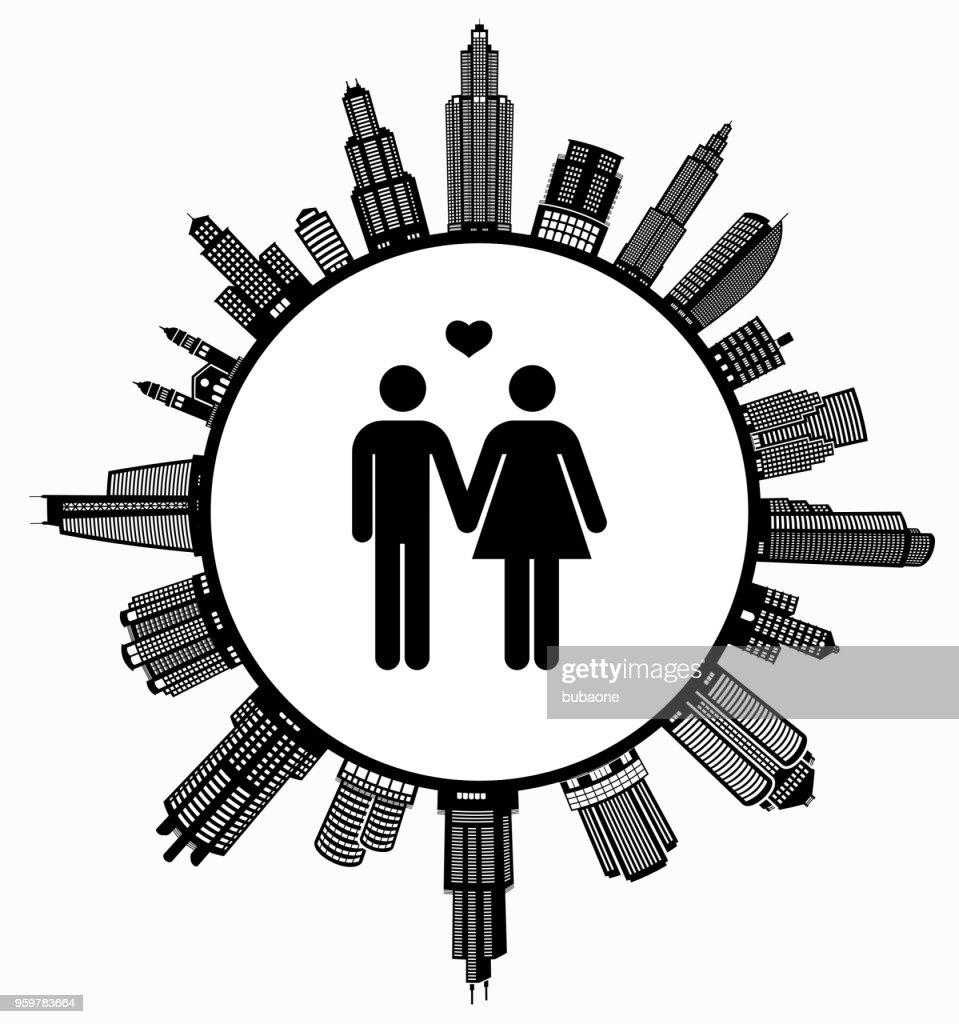 Paar In der Liebe Hand in Hand auf modernen Stadtbild Skyline Hintergrund : Stock-Illustration