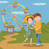 Couple in love hugging while walking, happy young man and woman in front of ferris wheel in amusement park vector Illustration