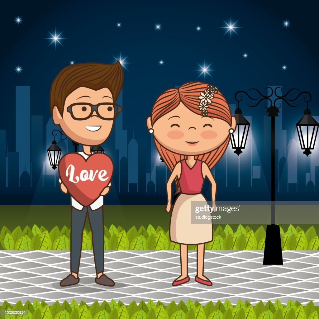 couple in love on park at night