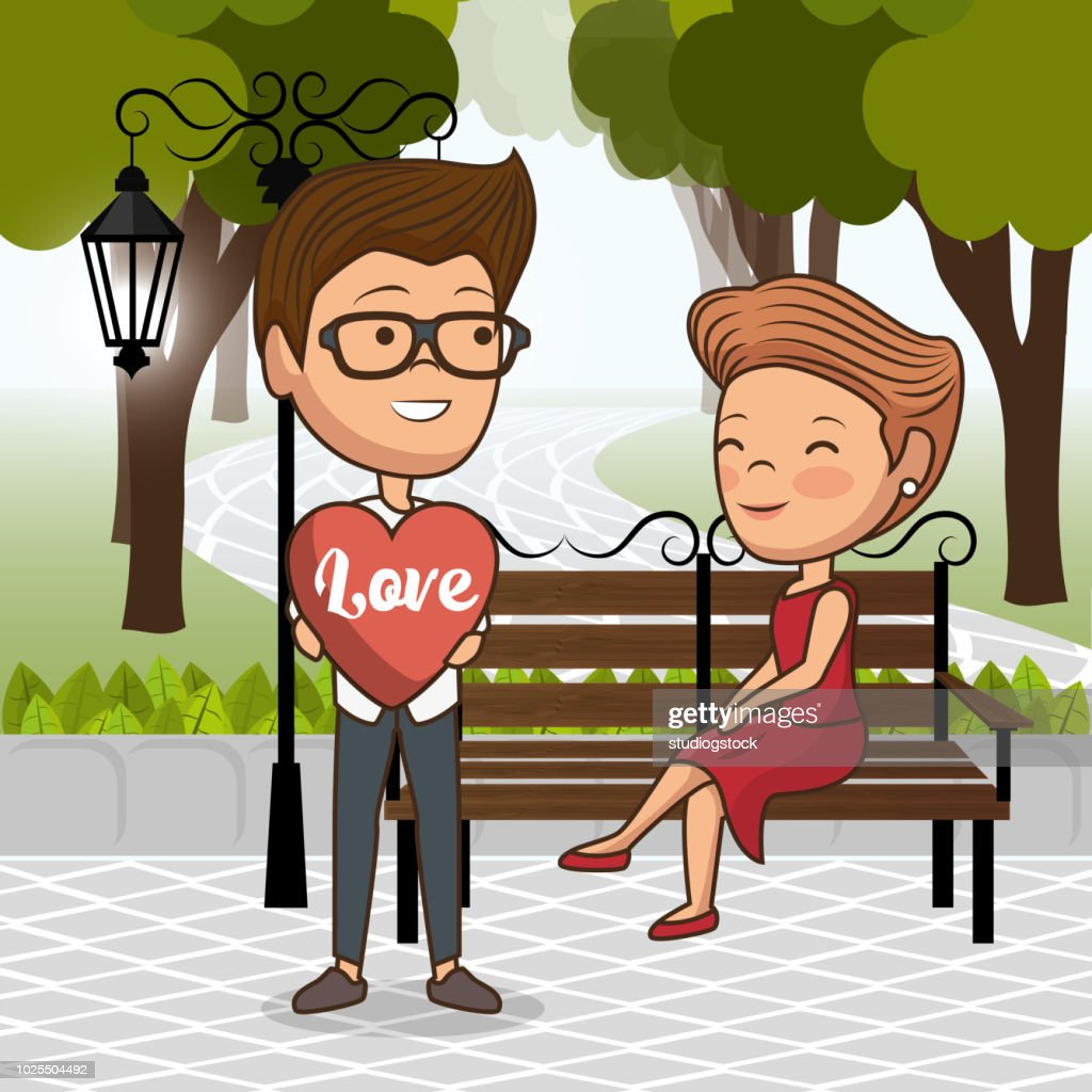 couple in love on park chair