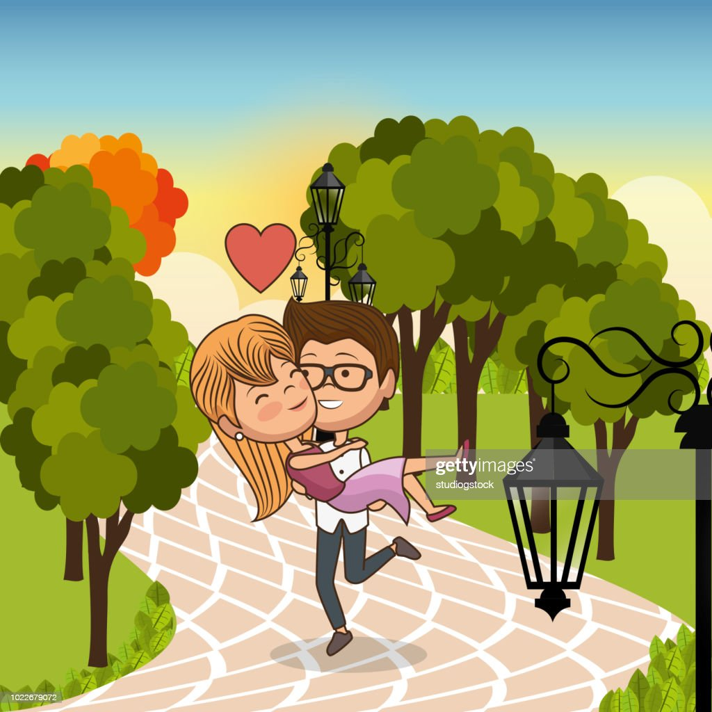 couple in love on park