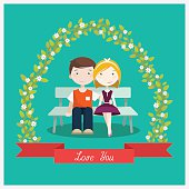 Couple in love sitting on the bench. Vector illustration