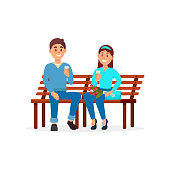 Couple in love sitting on the park bench vector Illustration on a white background