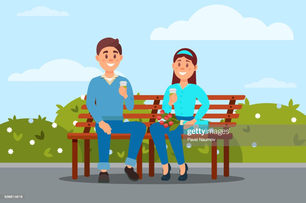 Couple in love sitting together on the bench in the park vector ilustration
