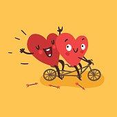 Couple in love. Two happy hearts biking