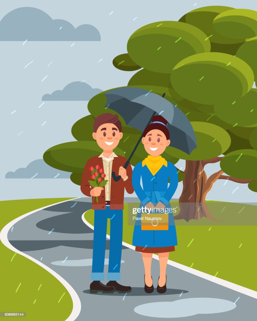 Couple in love walking under umbrella in summer park vector ilustration