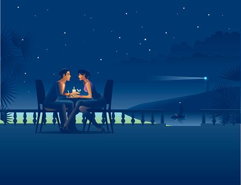 Couple in night coast cafe. - gettyimageskorea
