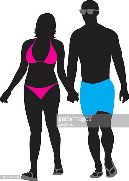 couple in swimwear walking silhouette - girlfriend stock illustrations, clip art, cartoons, & icons