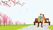 Couple in the spring park , cherry trees -EPS10
