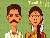 Couple in traditional costume of Tamil Nadu, India