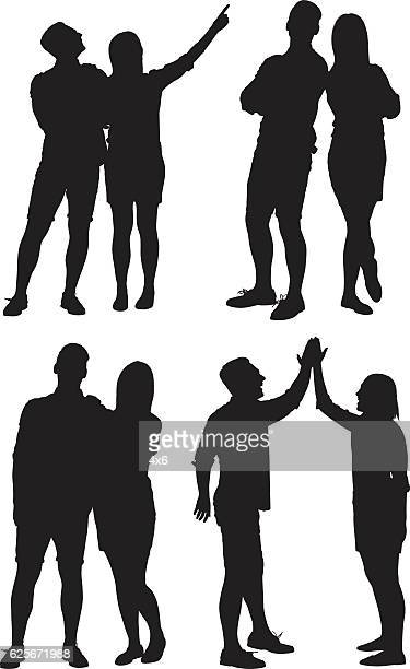 couple in various action - back to back stock illustrations, clip art, cartoons, & icons