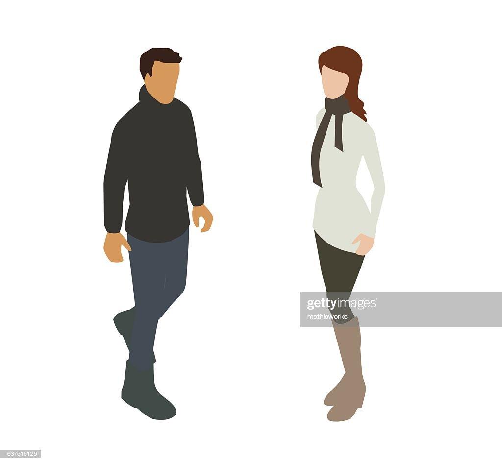 Couple in Warm Clothing Spot Illustration : Vector Art