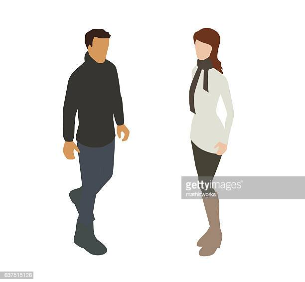 couple in warm clothing spot illustration - mathisworks stock illustrations