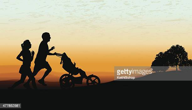 couple jogging, exercising with baby stroller at twilight background - three wheeled pushchair stock illustrations, clip art, cartoons, & icons
