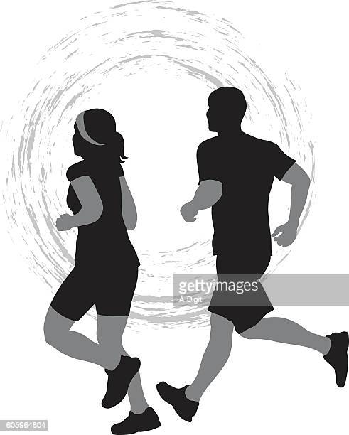 Couple Jogging Icon Vector Silhouette