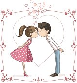 Couple Kissing Vector Cartoon