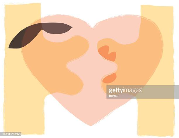 couple kissing - kissing on the mouth stock illustrations, clip art, cartoons, & icons