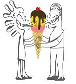 couple licking the same ice cream