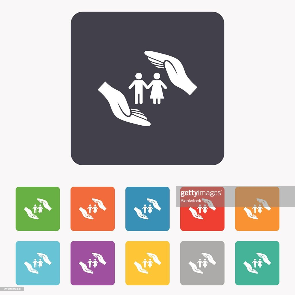 Couple life insurance sign icon. Hands protect.