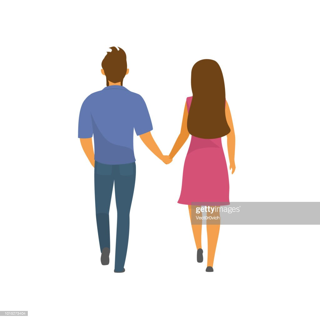couple, man and woman walking together holding hands backside view vector illustration
