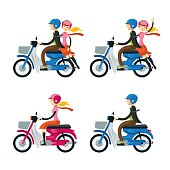 Couple, Man, Woman, Riding Motorcycle
