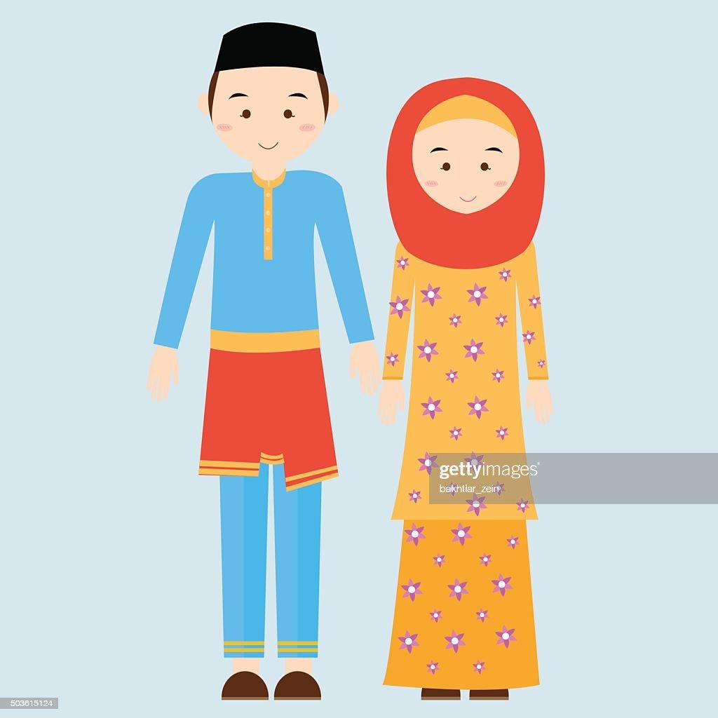 couple man woman wearing brunei islamic traditional costume clothe dress
