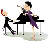 Couple musicians play music on violin and piano isolated illustration
