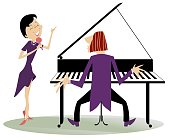 Couple musicians, singer woman and pianist man isolated illustration