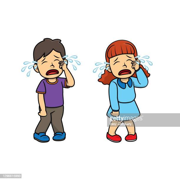 a couple of children crying from injury/unsatisfied incident. for human emotion/facial expression concepts.used to compose teaching materials in a set that expresses emotions. - family fighting cartoon stock illustrations