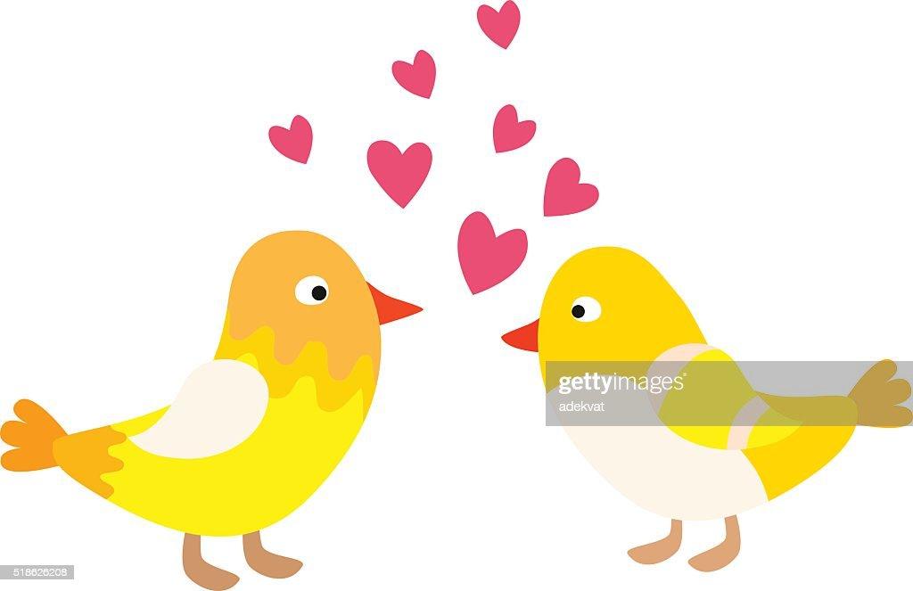 Couple of cute love birds nature sweet comic cartoon vector