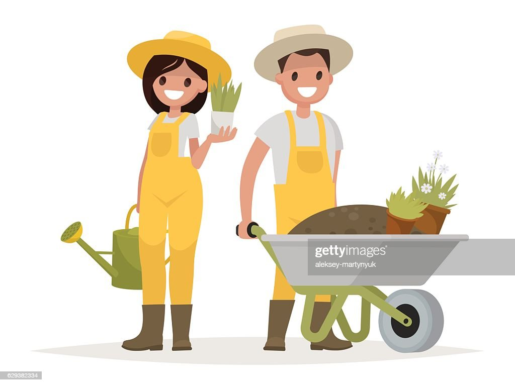 Couple of gardeners. Man with wheelbarrow of earth, a woman