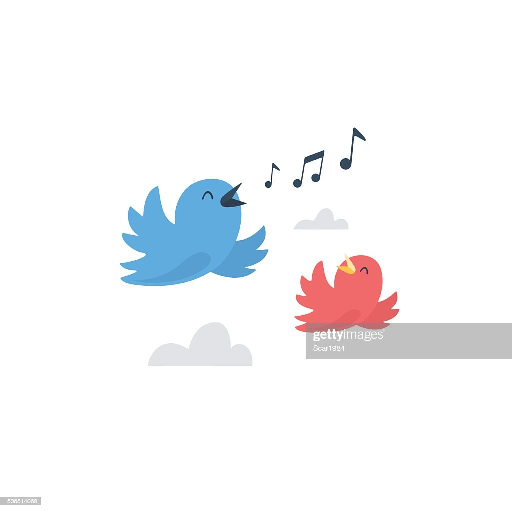 Couple of happy birds flying and singing