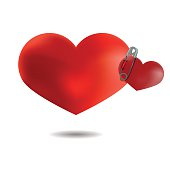 Couple of hearts pinned pin, Isolated On White Background, Vecto