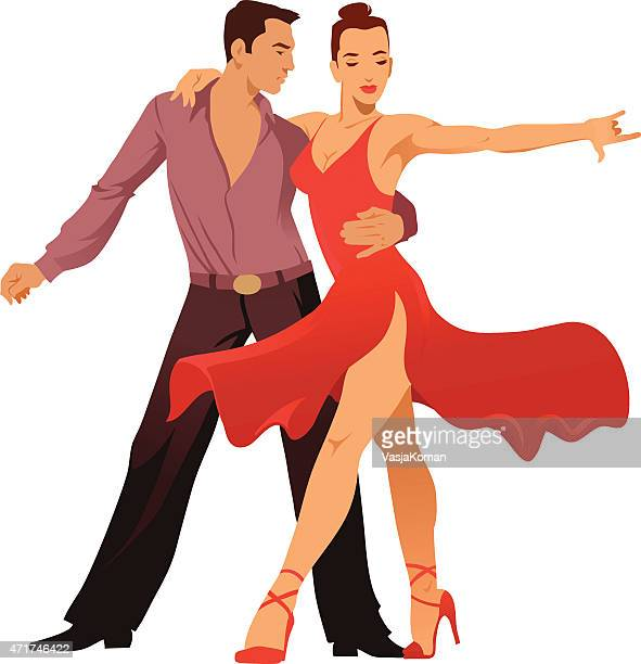 couple of latin dancers performing - latin american dancing stock illustrations, clip art, cartoons, & icons