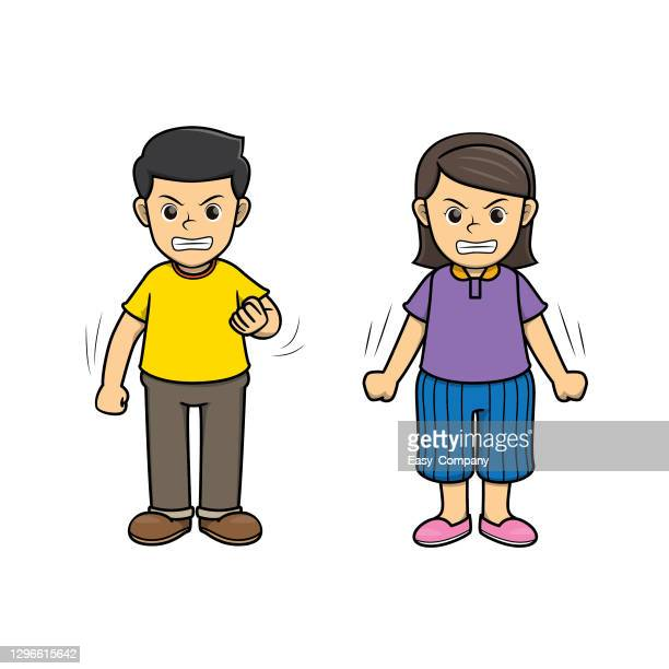 a couple of people feeling angry. one man and one woman show face expression of emotion.used to compose teaching materials in a set that expresses emotions. - family fighting cartoon stock illustrations