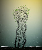couple of people look like tree branches silhouettes, two profiles of lowers concept,tree hug each other,