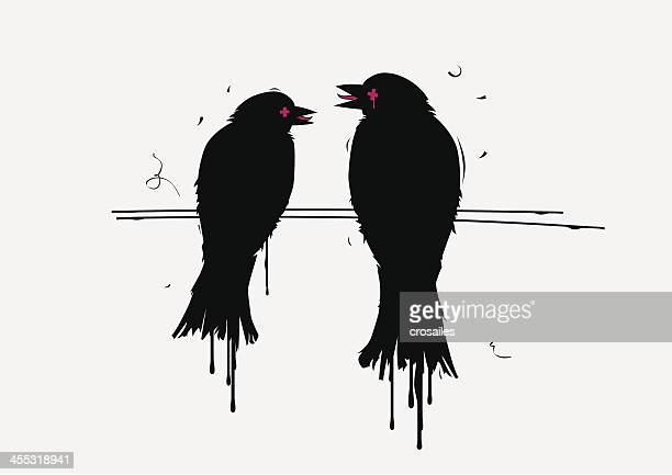Couple of Stained Urban Crows Talking to Each Other